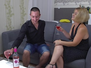 Blonde of age MILF Aranka V. rides coupled with blows cock on the couch