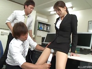 Japanese newborn fucked and eats cum gone of several cocks in the office