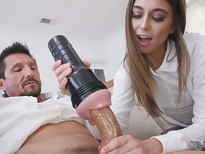 Riley Reid fucks her step daddy adjacent to fleshlight and gives a good blowjob