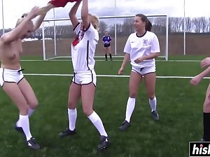 Naughty Soccer Girls Cherish To Shed one's clothes - orgy age group