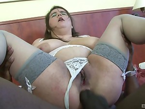Chubby mature Deborah sucks a black dick and rides it with her asshole