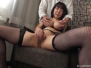 Busty Japanese mom takes cock in both holes