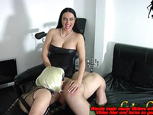 german bdsm domina and his strapon slave