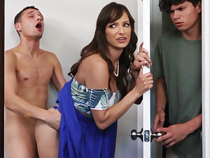 Busty MILF seduces her stepson's shy friend