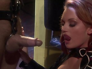 Dominant wife Monica Mayhem ties up and blindfolds her husband