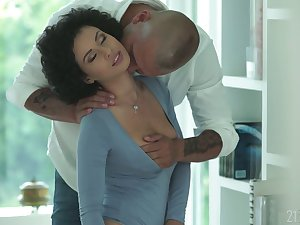 Libidinous babe with afro curls Stacy Bloom gives a sensual blowjob and gets fucked