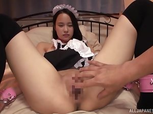Asian maid leaves the master to deal her pussy and ass