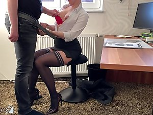 female boss uses trainee for dick riding, Business Bitch