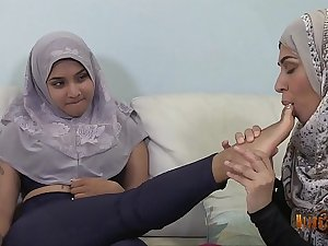 Slutty Desi Hijabis having lesbian fun